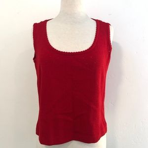 St John knit sweater sleeveless scalloped top L
